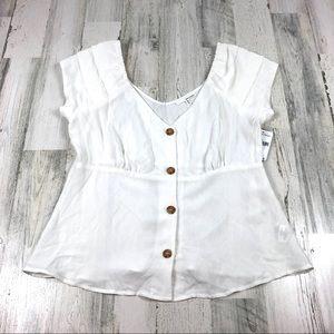 June & Hudson white button up blouse size xl